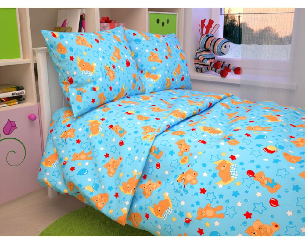Постельное белье 350-1 Мишки голубые