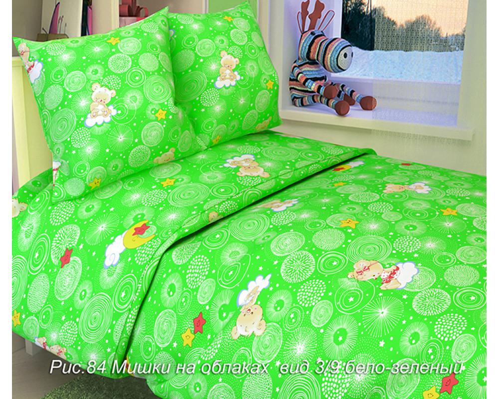 Постельное белье 84-3 Мишки на облаках бело-зеленый