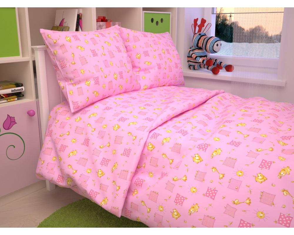 Постельное белье 366-3 Жирафики розовые