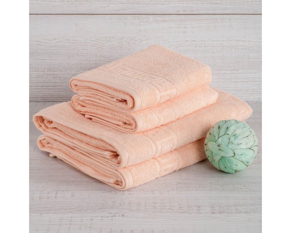 Полотенце махровое 420г персиковое