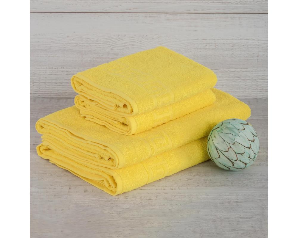 Полотенце махровое 380г желтое